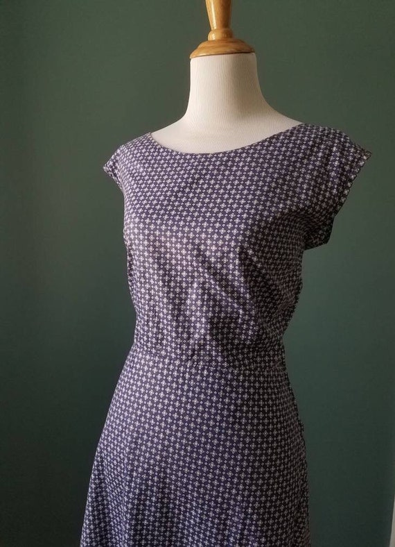 Vintage 30s 40s Blue and White Cotton House Dress