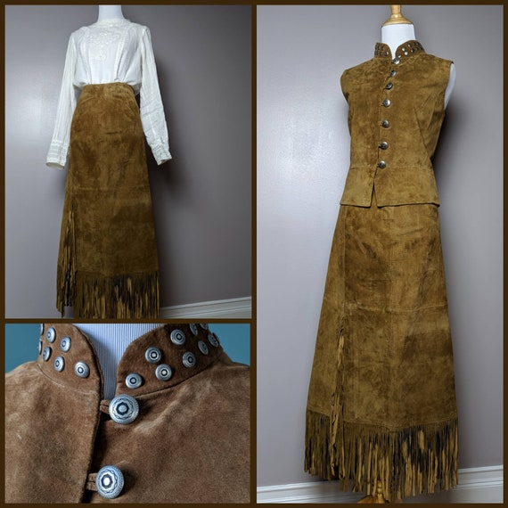 Vintage 90s Natural Brown Western Suede Vest and M