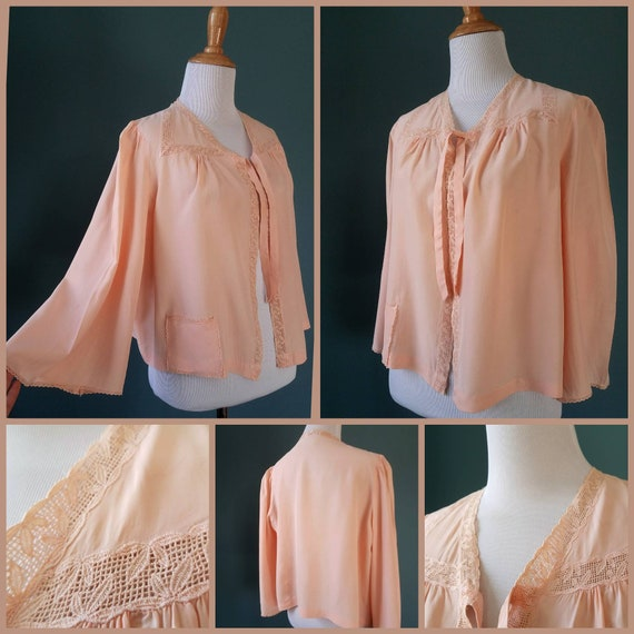 1940s // 1950s  Blush Pink // Peach Lace Bed Jacke