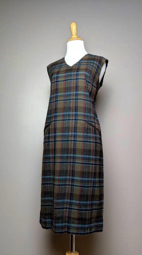 Vintage 50s 60s  Plaid Tartan Mod Dress