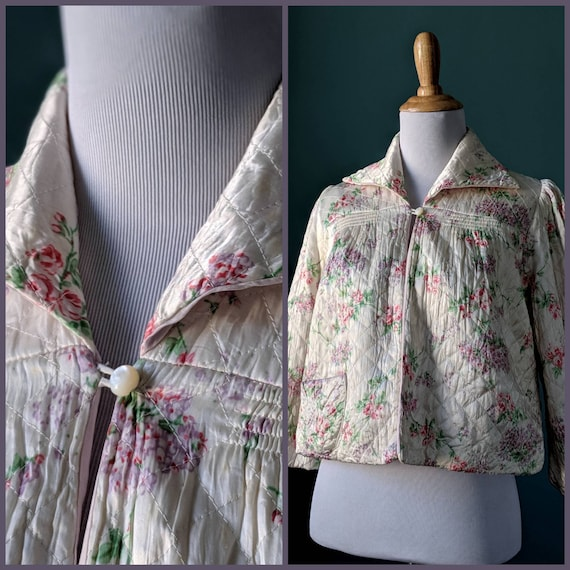 Vintage 40s 50s Floral Quilted Bed Jacket Robe