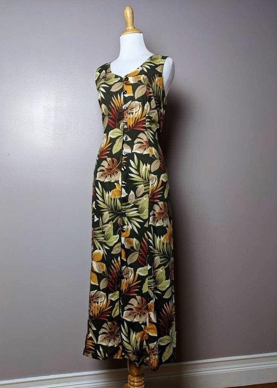 Vintage 90s Tropical Amazon Leaves Print Maxi Dres