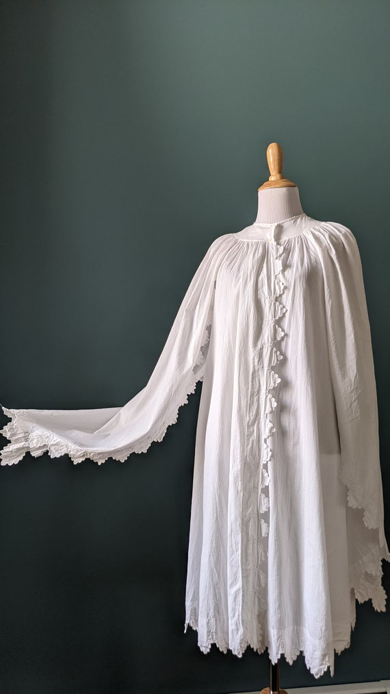 RARE Antique Victorian Edwardian White Cotton Emb… - image 6
