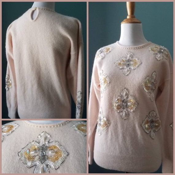 Vintage Angora floral beaded Sequin Sweater