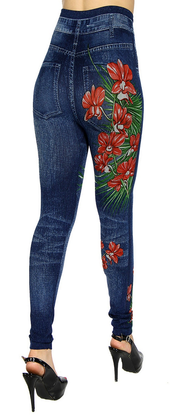 elegant and sturdy package soft and light catch Floral print jeggings