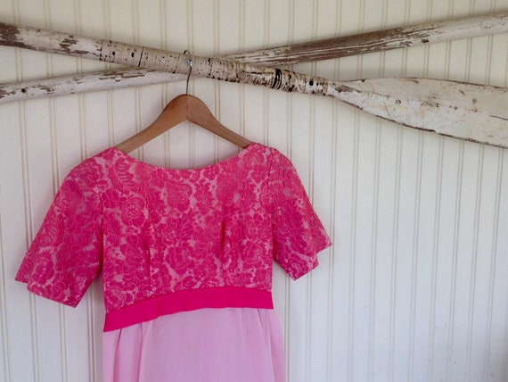 Audrey Hepburn Inspired Pink Chiffon Dress