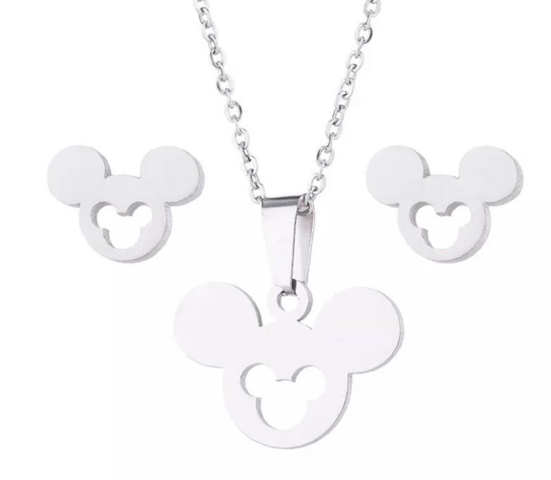 Mickey necklace and earrings Disney Disney earrings Disney necklace Mickey Mouse