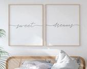 Sweet Dreams Sign, Womens Bedroom Art, Set of 2 Prints, Above Bed Art, Bedroom Wall Art, Calligraphy Printable, Above Crib Decor