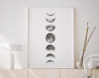 Moon Print, Phases of the Moon, Moon Wall Art, Moon Phases Poster, Lunar phases, Moon Phase Pictures, Moon Poster, Digital download.