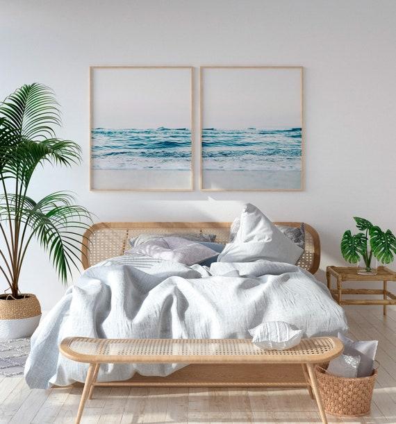 Set of 2 beach Prints , Above Bed Art, Coastal Print Set, Wall Art Set of  2, Beach Wall Art, 2 Piece Wall Art, Digital Download.