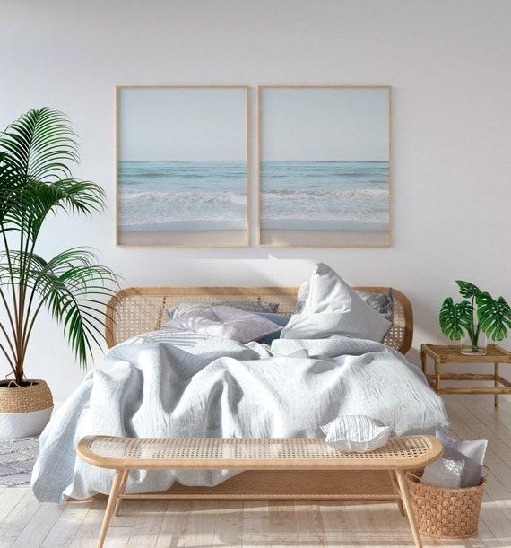 Beach Decor For Bedroom, Set of 2 Prints, Coastal Print Set, Wall Art Set  of 2, Bedroom Wall Art, 2 Piece Wall Art, Beach Decor, Wave PrinT