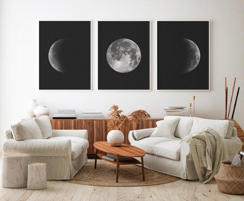 Set of 3 Prints Moon 3 Pieces Wall Art Moon Phases Art Moon image 0