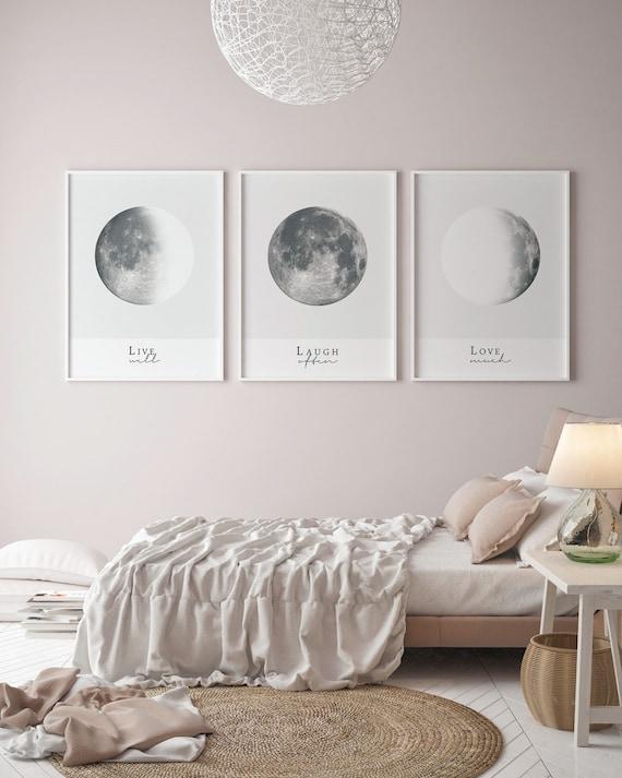 Moon Phase Print, Set Of 3 Prints, Above Bed Poster, Digital Download,  Bedroom Women, Set of 3 prints, Bedroom Prints, Bedroom Art Set