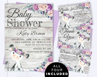 Baby shower invite etsy purple cow baby shower invite purple and gray baby girl shower invitations purple cow girl baby shower purple cow invite farm baby shower filmwisefo