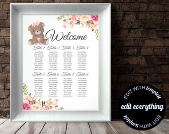 Floral Baby Shower Seating Chart Printable Plan Bear Editable Template Woodland