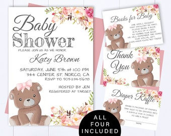 842802fc7cf Pink Teddy Bear Baby Shower Invite Rustic Floral Baby Girl Shower  Invitations Pink Bear Girl Baby Shower Invite Woodland Bear Shower Invite