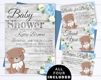 Teddy bear baby shower invitations etsy blue bear baby shower boy invite blue baby shower baby boy shower invitations blue teddy bear boy baby shower blue woodland bear invite filmwisefo