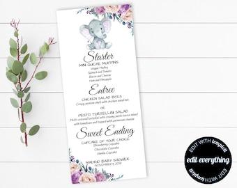 DIY Elephant Baby Shower Menu Purple Card Template Printable Cards