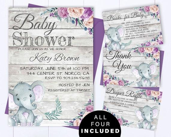 Purple Elephant Baby Shower Invite Purple And Gray Baby Girl Etsy
