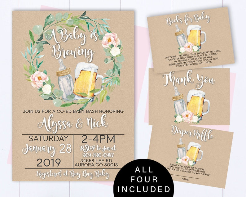 A Baby is Brewing Baby Shower Invitation Template Beer Baby Shower Invite A Baby Is Brewing Baby Shower Invite Coed Baby Shower Invitation