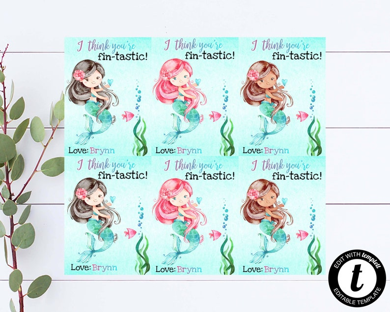 Mermaid Valentines Cards Editable And Personalized Mermaid Valentine/'s Day Cards Set Of 6 Kid Mermaid Valentines Cards You/'re Fin-Tastic