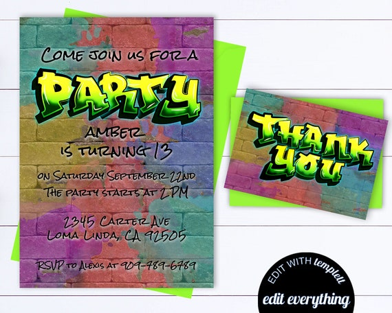 Hip Hop Birthday Party Editable Invitation 90's Hip Hop Party Invite  Birthday Hip Hop Birthday Invite Graffiti Birthday Party Invitation
