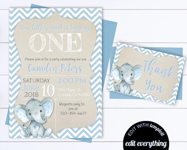 Blue Elephant Birthday Invitation Boy Invitations Editable Template First
