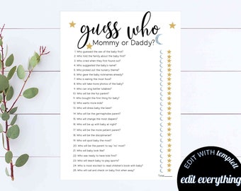 Guess Who Mommy Or Daddy Baby Shower Game Guess Who Game Shower Game Mommy Or Daddy Baby Shower Game Moon And Star Guess Who Shower Game