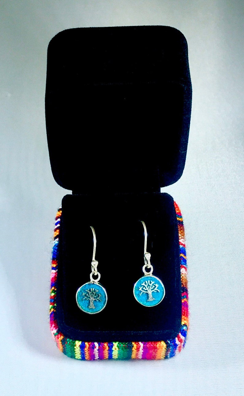 Handmade Peruvian jewelry 950 Silver Dangle Tree of life earrings *Chrysocolla stone* Explore our Peru-Cusco unique Mother/'s Day gifts!