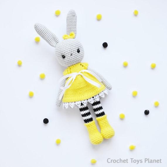 Amazon.com: Plush stuffed crochet bunny rabbit toy - baby shower ... | 570x570
