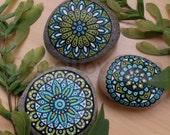 Etsy's 13th birthday sale, painted rocks, decorative stones, mandala, decorative rocks, handmade, paperweight, decor objects, painted stones