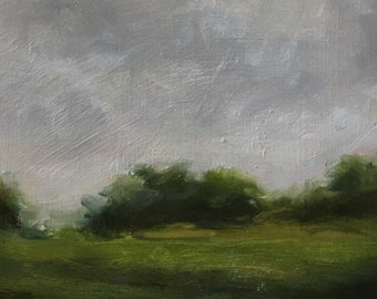 Small Landscape Painting | Oil on Panel | Storm Clouds | Trees| Green Fields | Grey Sky |Forest | Unframed Wall Art | 6x6 inches