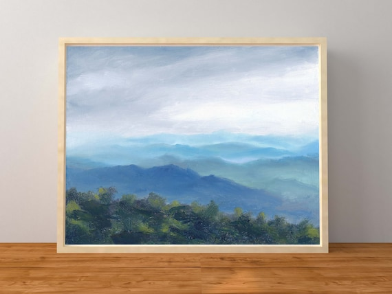 Print Of An Oil Painting Virginia Landscape Sunset Clouds Blue Etsy