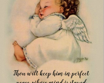 Vintage Baby Girl Angel Print with Scripture Quote