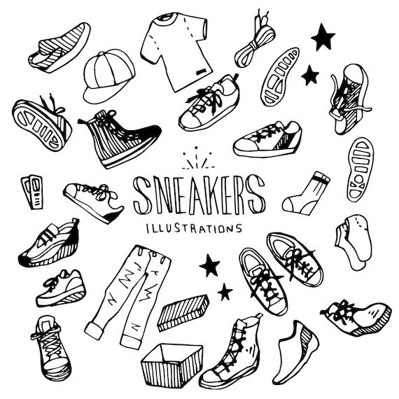 Chaussures, chaussure, mode, robeDoodle Clip RTHND Drwnvecteur AI ricane Illustration Pack (éléments) + EPS + JPG Files Téléchargement immédiat