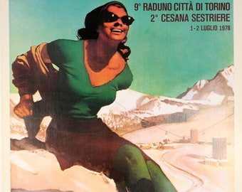 Sestrieres ski  poster 1978 original travel poster by Gino Boccasile on linen excellent