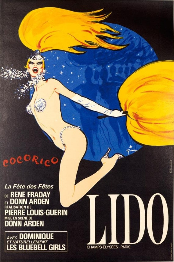 LIDO COCORICO ORIGINAL POSTER BY RENE GRUAU ON LINEN FRENCH VINTAGE