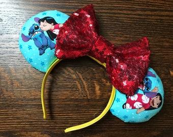Lilo Et Stitch Inspirent Souris Oreilles Bandeau Point Fleur