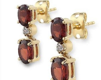 3.37 CT Garnet & Diamond Designer Earrings