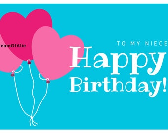 To My Niece Happy Birthday Printable
