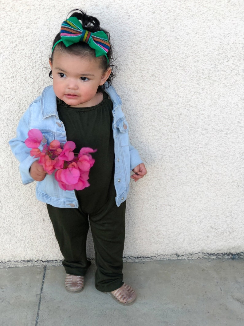 Baby girl Romper Oliver Romper Green baby romper Spring romper Handmade baby romper RTS Stella Romper