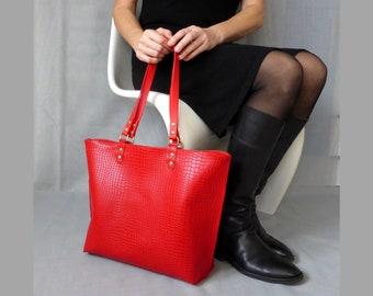 fb684290cd9 Grote shopper tas Python flame rood shoppers handtas tote tas Luipaard  dierlijke print reptiel vegan