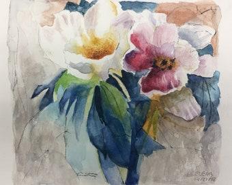 Original Watercolor Painting of Flowers