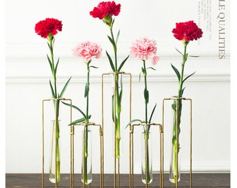 European stylish glass tube flower vase with metal wire stand