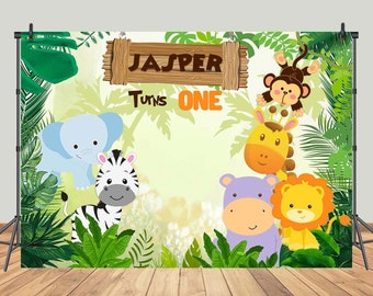Jungle Theme Photography Backdrop Custom Newborn Baby Shower Children 1st Birthday Party Photo Backgrounds Animals Booth