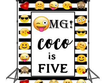 Cartoon Emoji Photography Backdrop Customized Children Birthday Party Photo Backgrounds Vinyl Banner For Studio