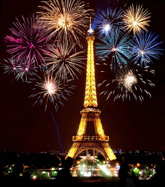 7x5ft Backdrop Light Night Eiffel Tower Backdrops Night Scenery Firework Background Photography Props