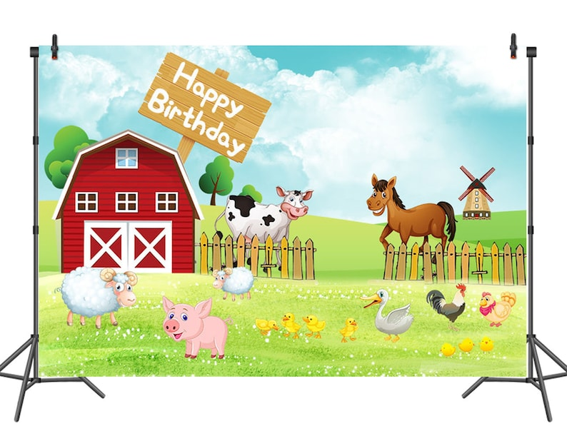 Happy 1st Birthday Backdrop for Photography Farm nd Animals Photo  Background Kids Children Birthday Party Photo Booth Backdrop