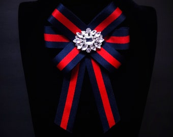 70224974cc82c9 Gucci Inspired Women's Bow Brooch - Female Bow Tie - Red Blue Striped  Ribbon Pin Crystals - Mothers Day Birthday Gifts for Her