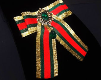 8ae2d3e7da5 Gucci Inspired Women s Bow Brooch - Female Bow Tie - Red Green Striped  Ribbon Bee Insect Pin - Christmas Birthday Bridesmaid gifts for Her